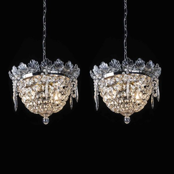 Pair of Italian  Circular Crystal Ceiling Fixtures 1950s