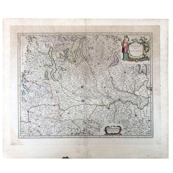 BLAEU WILHELM (1571-1638) STATO DI MILANO – Stampa d'epoca