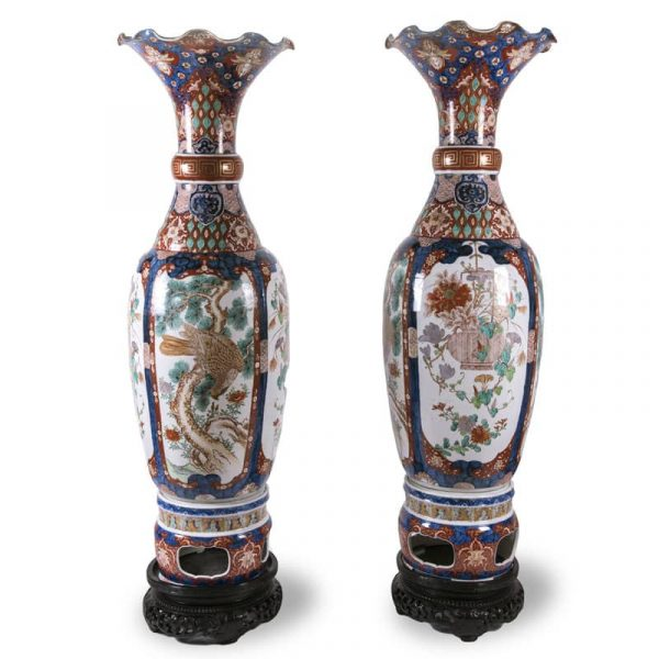 Large Pair of Imari Japanese Porcelain Vases