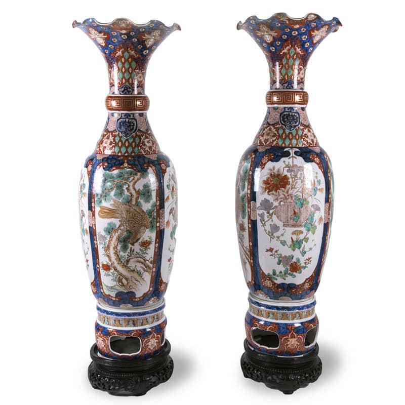 Coppia di grandi vasi imari in porcellana 1800 for Vasi giapponesi