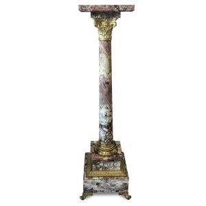 colonna portavaso in marmo e bronzo dorato