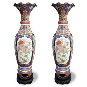 Coppia di Grandi Vasi Imari in Porcellana 1800 A228