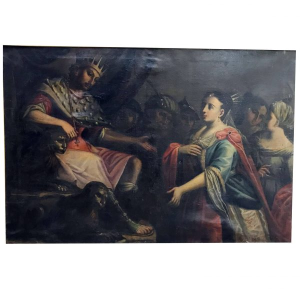 Esther and Ahasuerus Large Italian Painting, 1780 circa Framed Biblical Scene