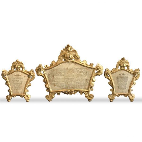 Set of Three 18th century  Louis XV Italian Altar Cards Cantagloria