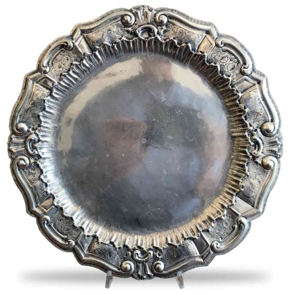 Early 1900 Repousse Chiseled Silverplate Tray