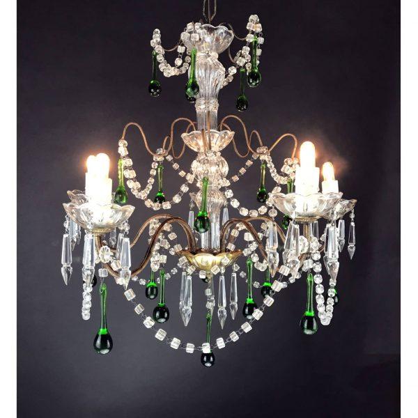 Lampadario in  Cristallo con Pendenti Verdi Illuminazione del Soggiorno