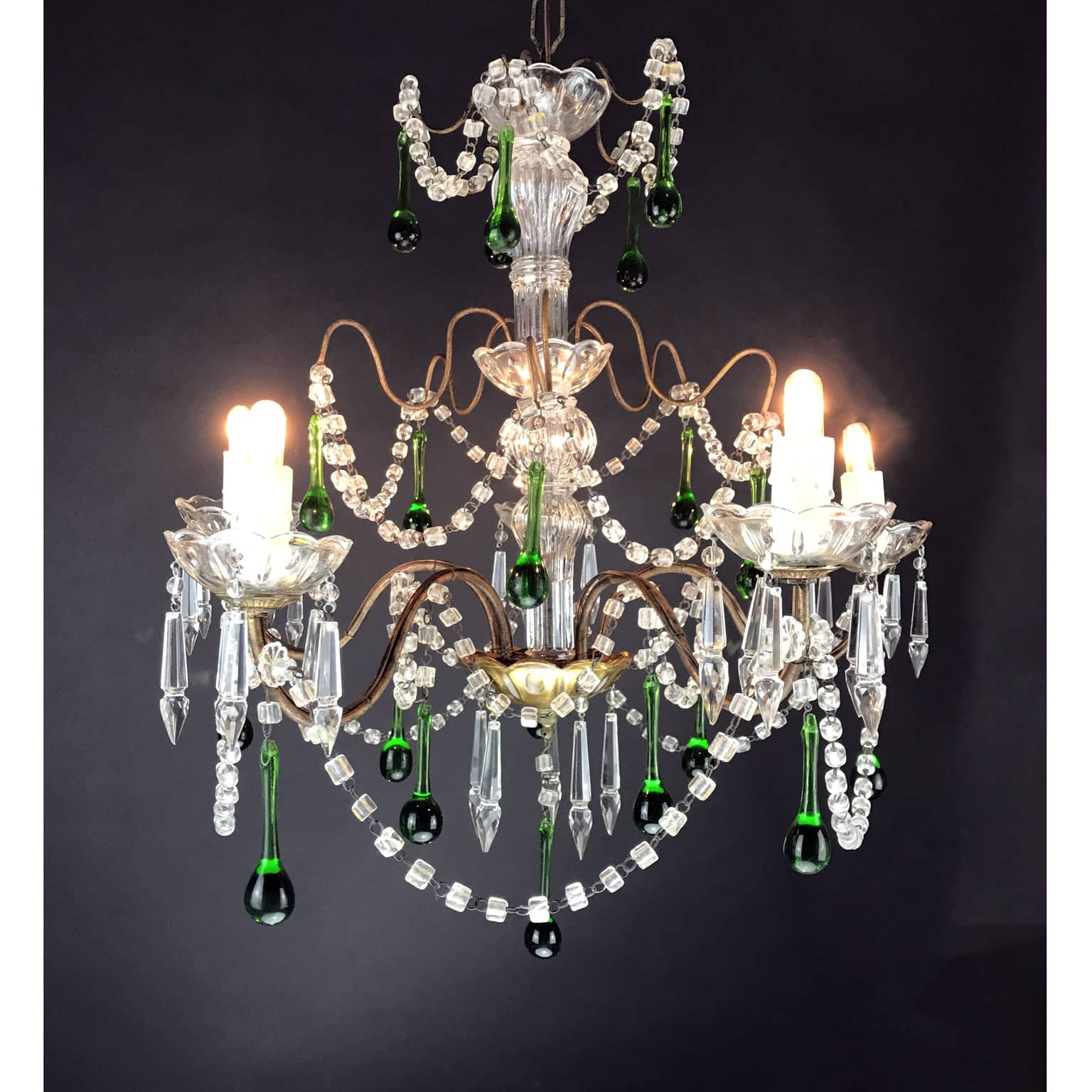Italian five light crystal chandelier with green crystal drops 1930s arubaitofo Image collections