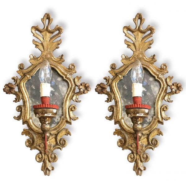 A Pair of Italian Louis XV Mirrored  Wall Sconces