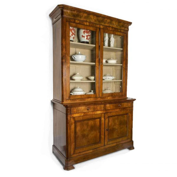 19th Century French Louis Philippe Walnut BurlTwo-Part Sideboard Bookcase