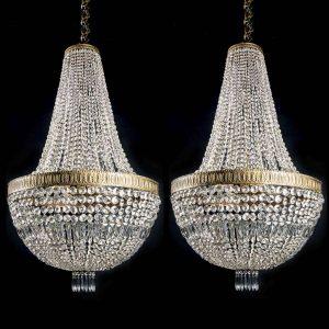 coppia lampadari impero in cristallo