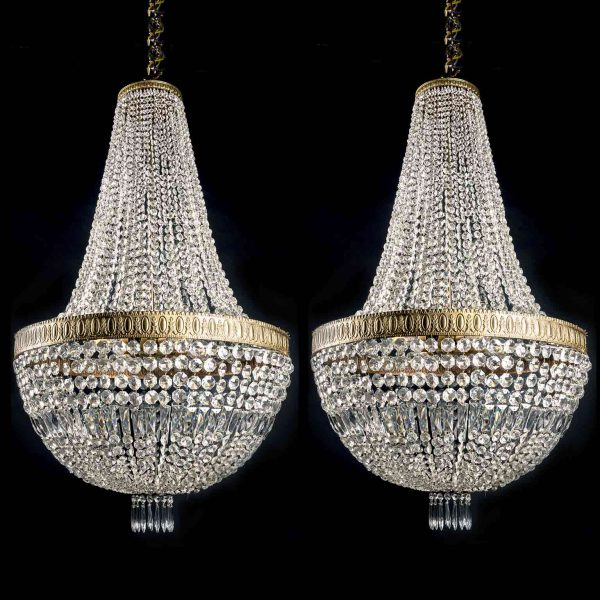 Pair of 20th Century Italian Empire Bronze and Crystal Six-light Chandeliers
