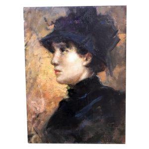 Cesare Tallone, Signora di Profilo con Cappellino, 1880-1884