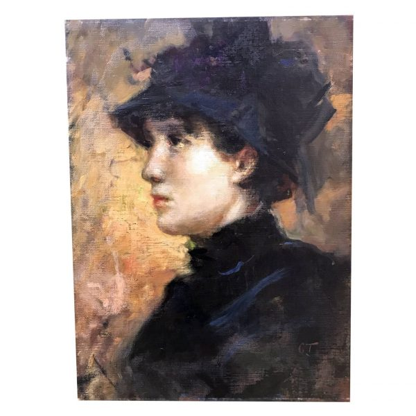 Lady With Hat Profile Portrait By Cesare Tallone 1880 circa