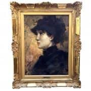Cesare Tallone, Signora di Profilo con Cappellino, 1880-1884 2