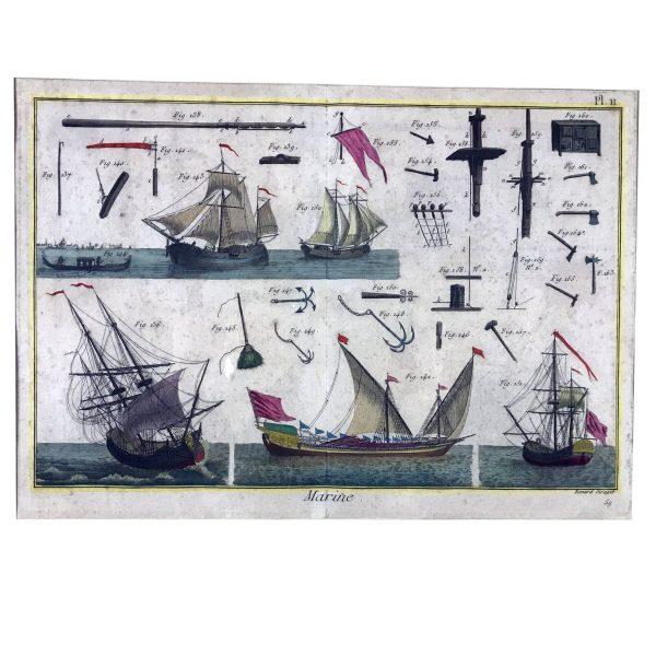 Marina, acquaforte di Bernard per l'Enciclopedia Diderot, Parigi 1760 circa.