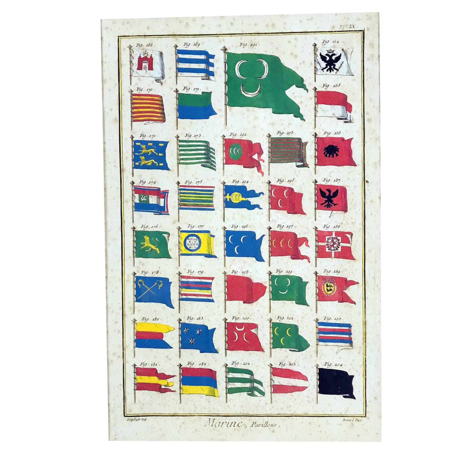 Bandiere Navali dall'Enciclopedia di Diderot e D'Alembert, 1770 circa