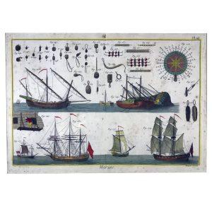 Stampa antica con velieri. Parigi 1760 circa