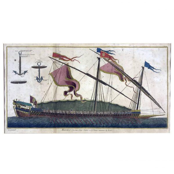 Marine Etching Reale Ship Galley Prints Paris Diderot Benard 1772