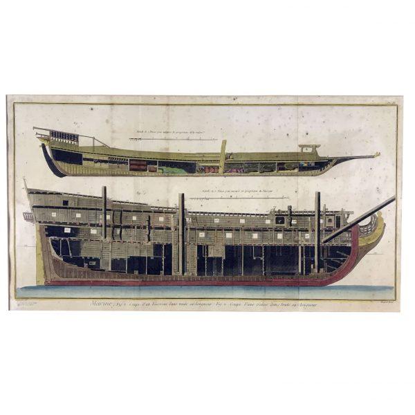 Marine Etching Reale Ship Galley Print, Paris Diderot Benard 1772