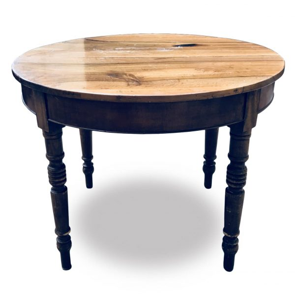 Tavolo Antico Rotondo Allungabile in Noce del 1800