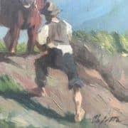 Pajetta Paesaggio con Cavalli dei primi del 1900 b