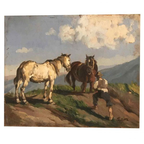 Early 20th Century Landscape with Horses and Figure Signed Pajetta