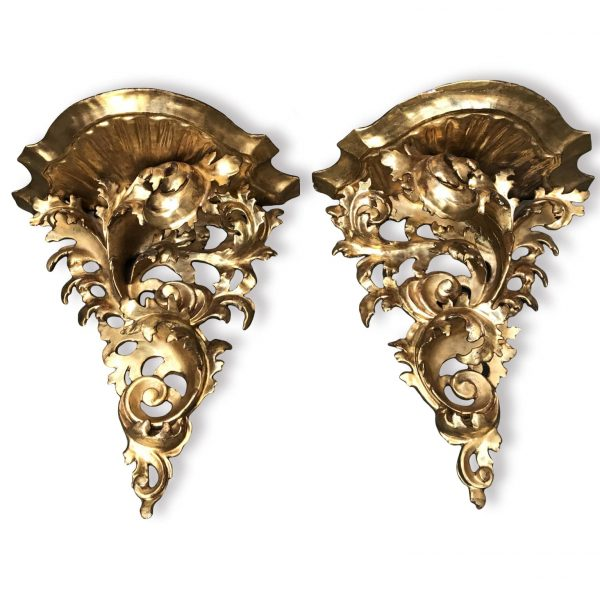 Pair of 19th Century Italian Carved Gilt Wood Wall Brackets