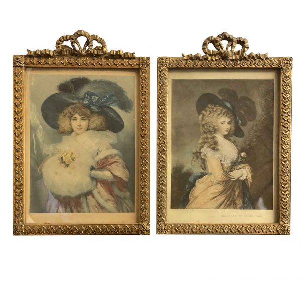 Coppia di Cornici Portaritratti in Pastiglia Dorata dei primi del 1900