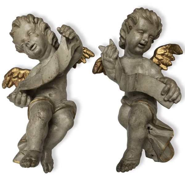 Pair of 17th Century Italian Baroque Carved and Painted Cherubs Sculptures