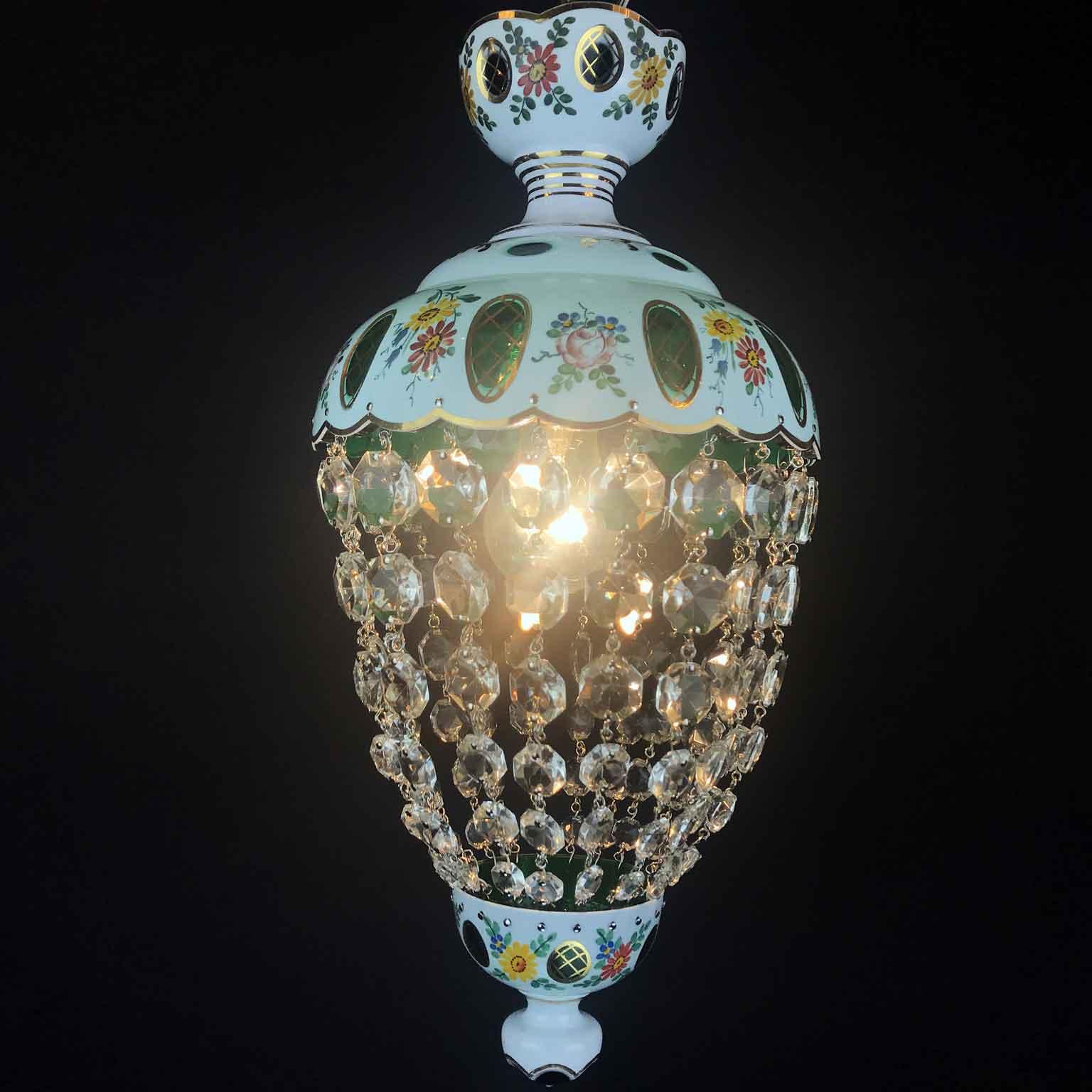 Lampadario da ingresso in Vetro Decorato e Cristallo del 1950 circa