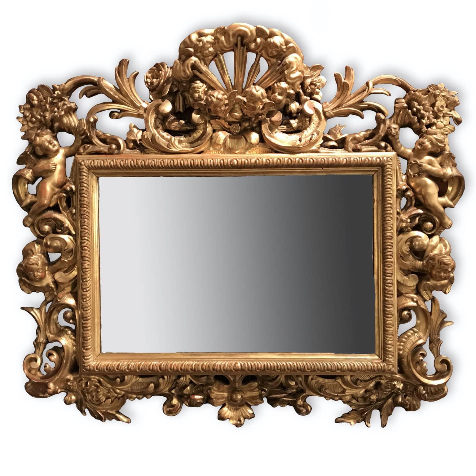 Specchiera rettangolare in legno intagliato e dorato xix - Specchio dorato antico ...