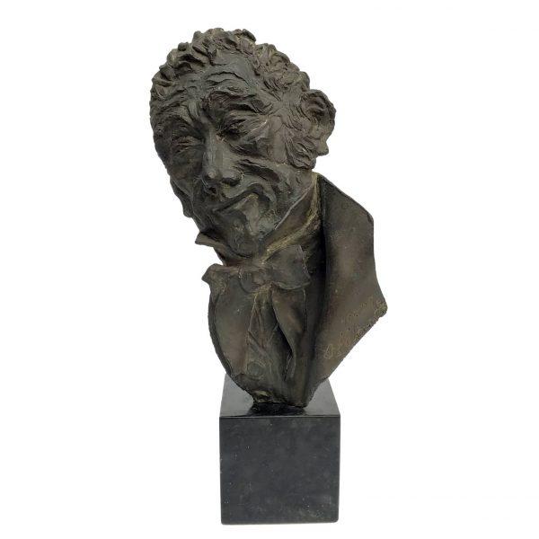 Bronze Bust Sculpture of Smiling Man by Dora Bassi 1970