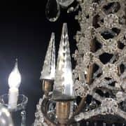 Lampadario in Bronzo e Cristallo con Obelischi 6