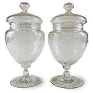 Coppia di Vasi con Coperchio in Vetro Molato 22