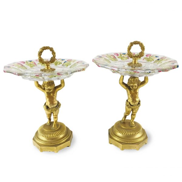 Pair of 19th Century Austrian Crystal and Ormolu Comports