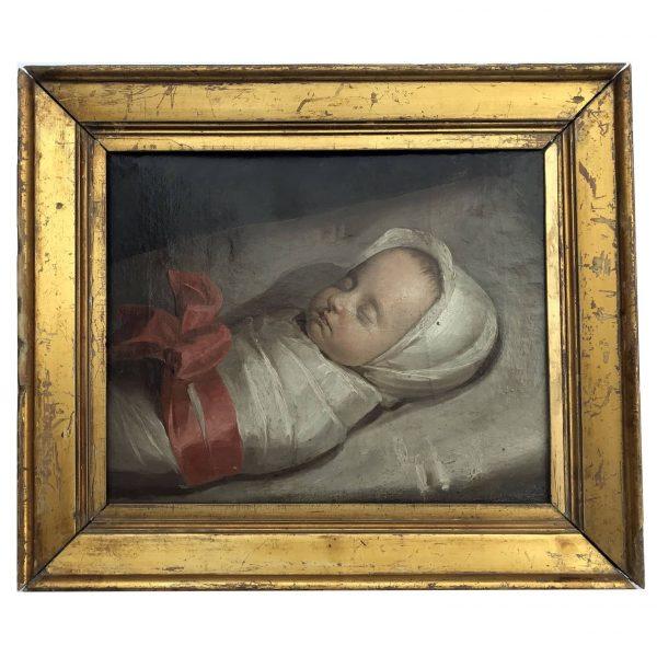 Ritratto del 1800 di Neonato Dormiente