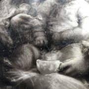 Felice Zennaro, Maternità, Inizi 1900, Dipinto al Nero Fumo sulla Ceramica 3