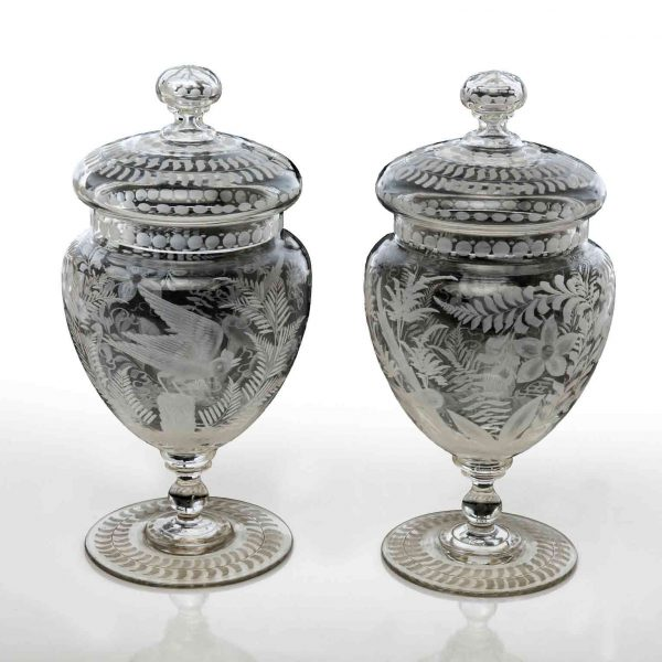 Pair of Austrian Vases with Cover 19th Century Bohemian Clear Crystal Jars