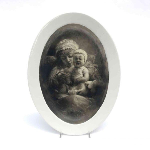 Italian Maternity Drawing Black Smoke Graffito on Oval Ceramic Dish by Zennaro