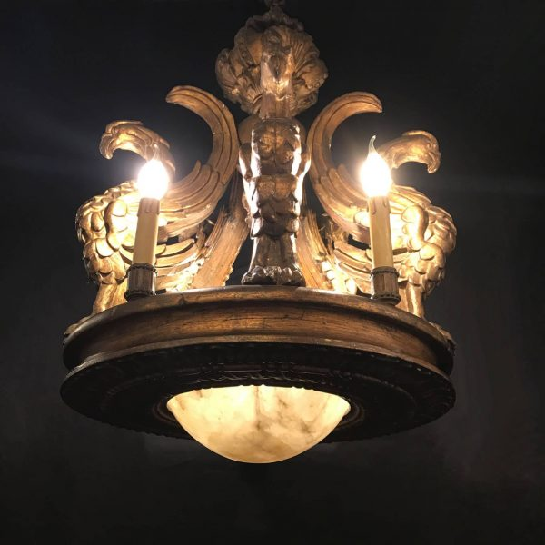 Early XX Century Italian Gilt wood Griffin Circular Chandelier with Alabaster