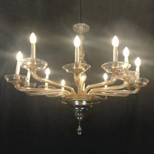 Lampadario Antico in Vetro Soffiato Color Visone Firmato Cristalleria Murano