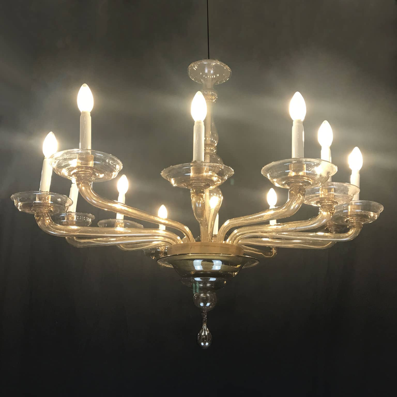 Antique Murano Glass Chandelier by Cristalleria Murano Giuseppe Toso 1940  circa - Antique Murano Glass Chandelier By Cristalleria Murano Giuseppe Toso