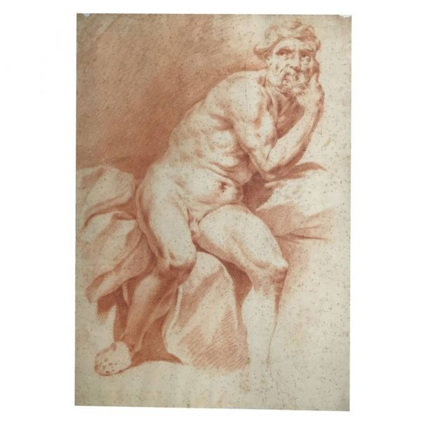 Pair of Sanguine Male Nude Drawings on Paper after Procaccini