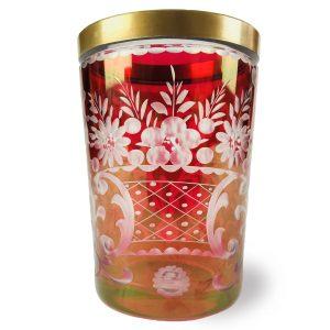 Bicchiere Boemo in Cristallo Rubino Molato con Bordo Dorato