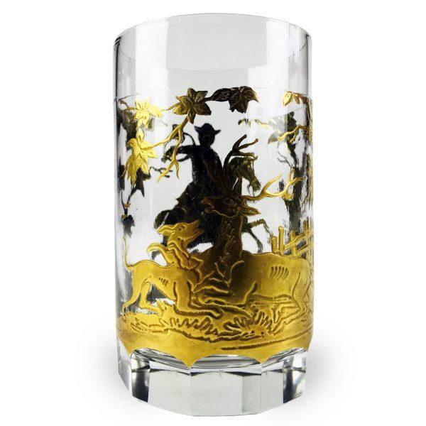 Bicchiere Tondo con Scene di Caccia in Oro fine 1800