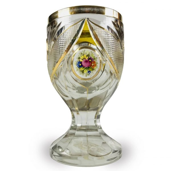 Calice Antico in Cristallo di Bohemia con Miniature Floreali