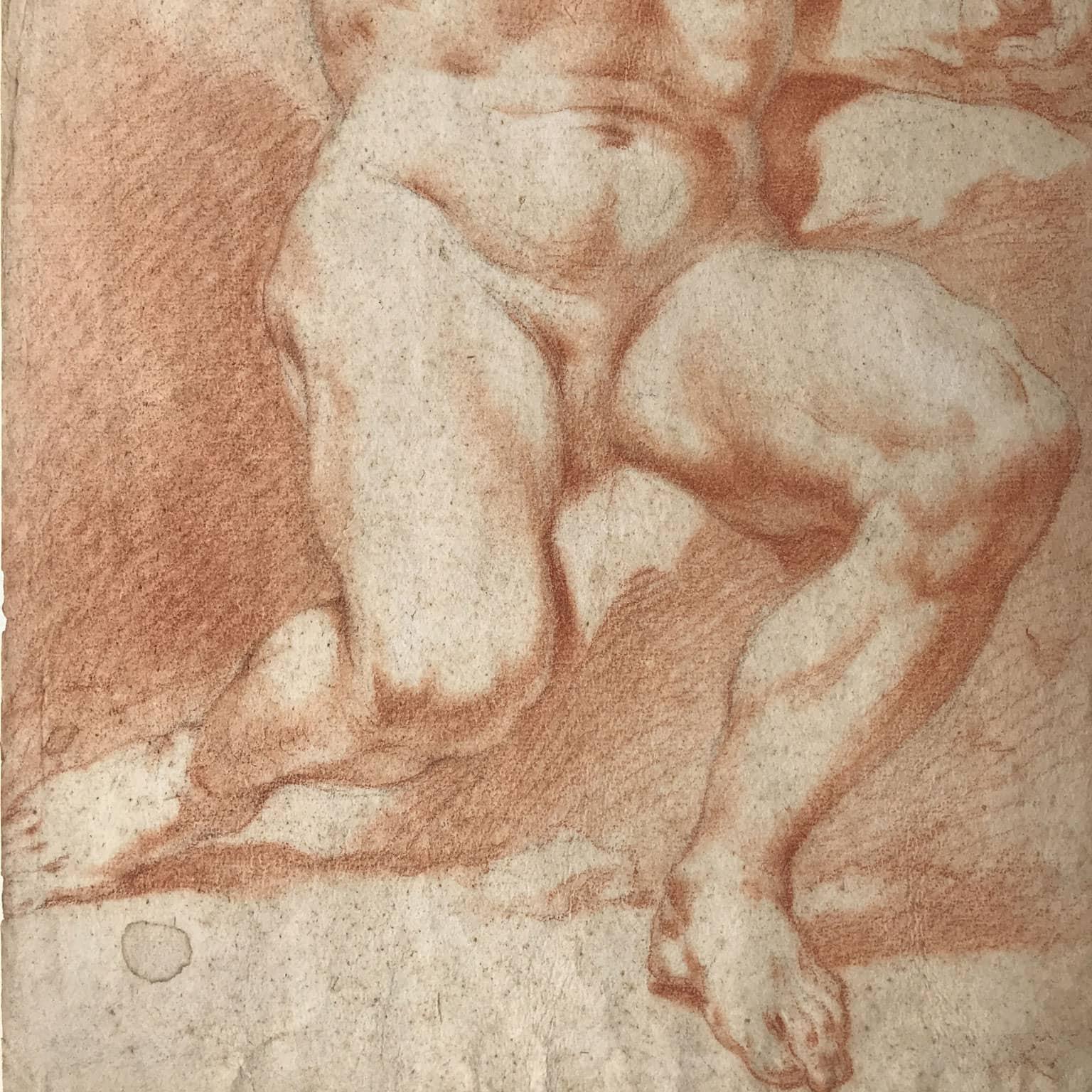 Coppia di disegni a sanguigna di nudi maschili in buono stato.