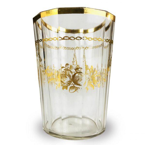 Bicchiere Antico in Vetro Dorato Bohemia 1700