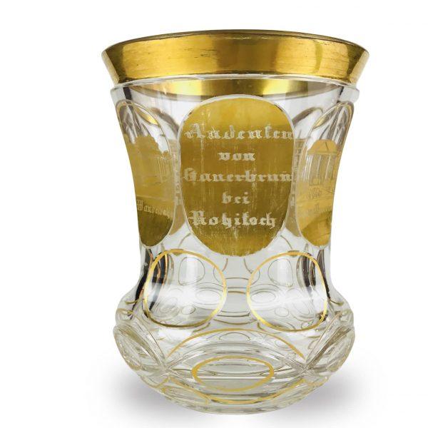 Calice Austroungarico Termale in Vetro Decorato in Oro 1875