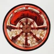 Bicchiere in Cristallo Color Rubino con Scena di Caccia Dipinta 2